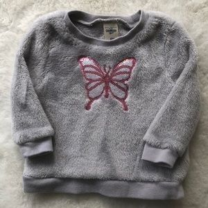 Oshkosh grey fleece butterfly sweatshirt size 6m